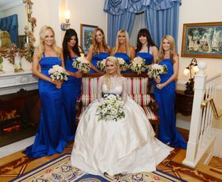 Holly Madison and Pasquale Rotella's wedding on Tuesday, Sept. 10, 2013, at Disneyland in Anaheim, Calif. Madison is pictured here with her bridesmaids.