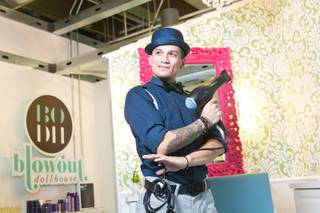 Danny Escobedo, manager at Blowout Dollhouse, a blow-dry bar at Market LV in Tivoli Village, on Wednesday, Sept. 11, 2013.