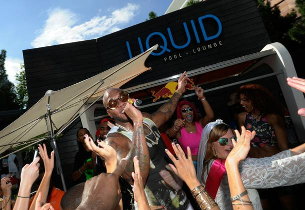Flo Rida performs at Liquid Pool Lounge in Aria.