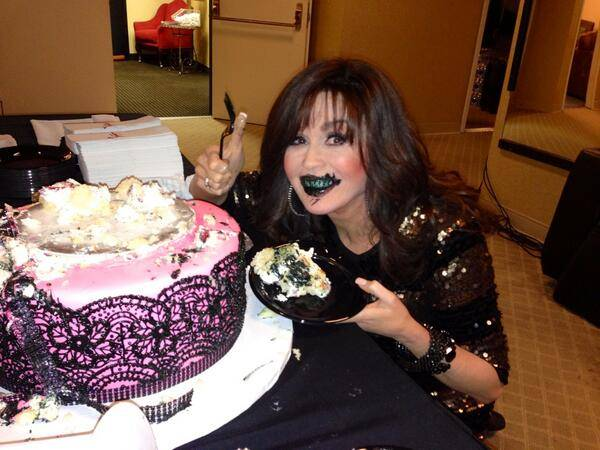 Marie Osmond makes a happy mess of it on the sixth anniversary of Donny and Marie's show at Flamingo Las Vegas.