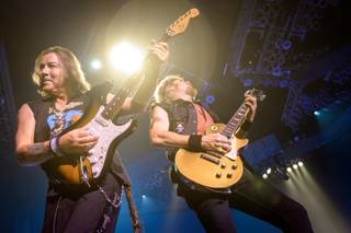Dave Murray and Adrian Smith of Iron Maiden at Mandalay Bay Events Center on Thursday, Sept. 12, 2013.