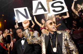 Nas celebrates his 40th birthday weekend at Tao in the Venetian late Saturday, Sept. 14, 2013.