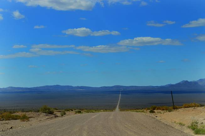 Groom Lake Road, shown on Sept. 16, 2013, leads off of Highway 375 leads to Area 51, the federal government's secret base.