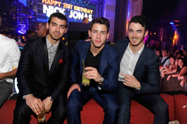 Joe Jonas, Nick Jonas and Kevin Jonas celebrate Nick Jonas' 21st birthday at XS on Saturday, Sept. 16, 2013, in Encore.