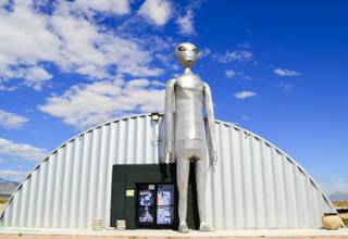 A tall, silver alien statute stands guard at the Alien Research Center in Crystal Springs on Monday, Sept. 16, 2013.