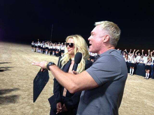 "Britney Spears with Sam Champion of ""Good Morning America"" near Jean, south of Las Vegas, on Tuesday, Sept. 17, 2013."
