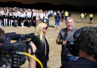 "Sam Champion of ABC's ""Good Morning America"" interviews Britney Spears at Jean Dry Lake Bed in Jean, Nev., early Tuesday, Sept. 17, 2013."