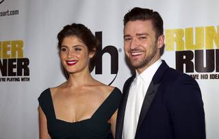 Actress Gemma Arterton and singer/actor Justin Timberlake arrive for the world premiere of the Twentieth Century Fox and New Regency film
