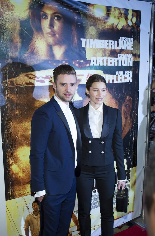 "Singer/actor Justin Timberlake and his wife, actress Jessica Biel, arrive for the world premiere of the Twentieth Century Fox and New Regency film ""Runner Runner"" at Planet Hollywood on Wednesday, Sept. 18, 2013."