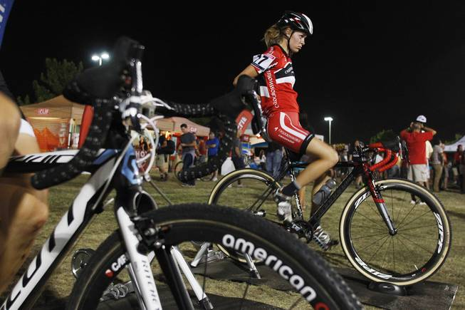 Maghalie Rochette cools down after her Cross Vegas cyclocross race Wednesday, Sept. 18, 2013.