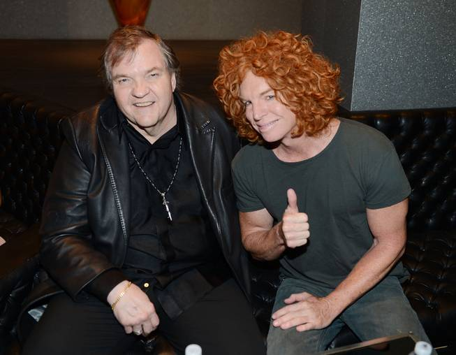 "Meat Loaf and Carrot Top attend the world premiere of ""Runner, Runner"" at Planet Hollywood on Wednesday, Sept. 18, 2013."