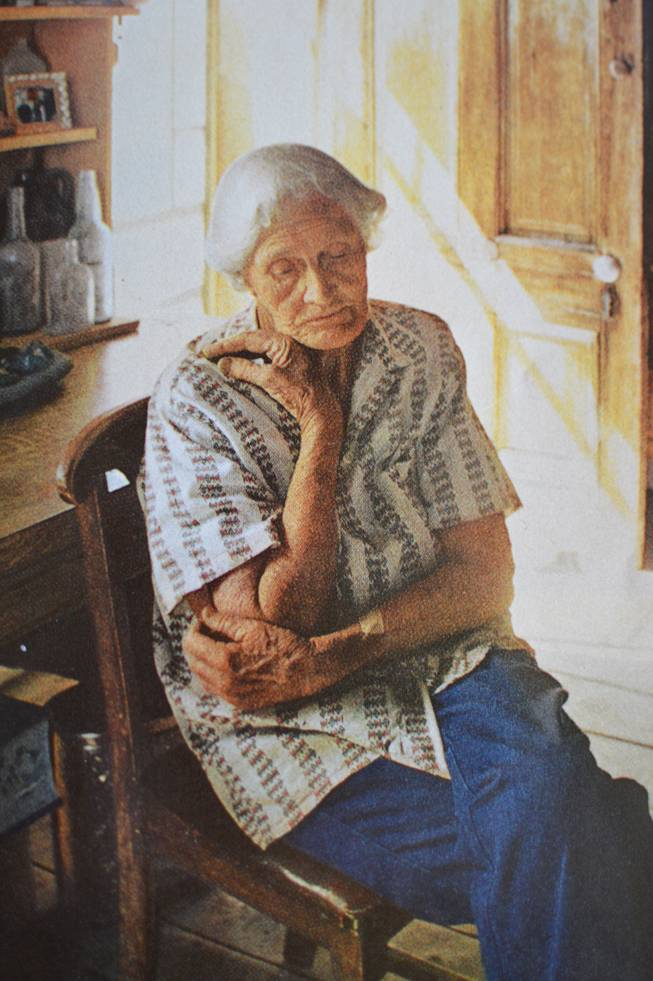 "This is a photo of Rose Walter that sits in the Belmont Inn & Saloon. It appeared in a 1974 edition of National Geographic. Rose - people still refer to her as just ""Rose"" - was considered the ""guardian"" of Belmont. She died in 1987 at the age of 93."