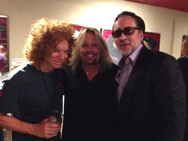 Carrot Top, Vince Neil and Nicolas Cage backstage at the Joint in the Hard Rock Hotel on Wednesday, Sept. 18, 2013.