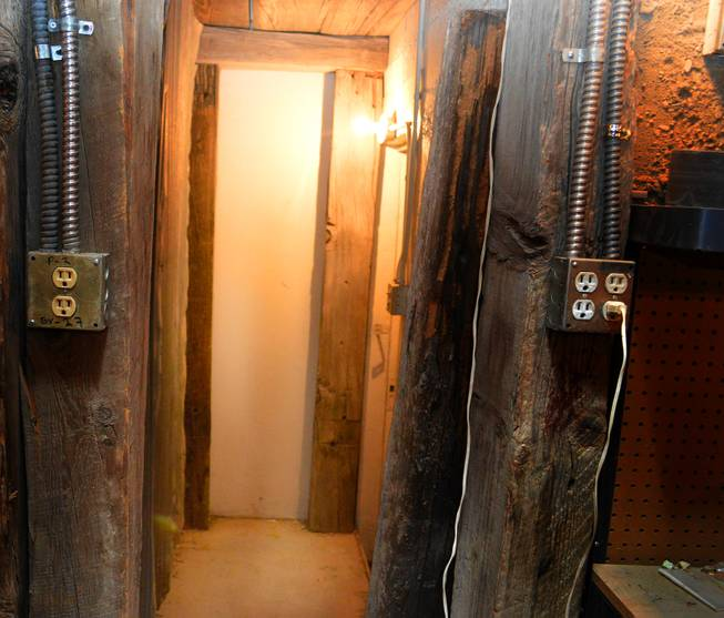 This hallway in the basement of the Mizpah Hotel leads to a room that is said to be haunted.