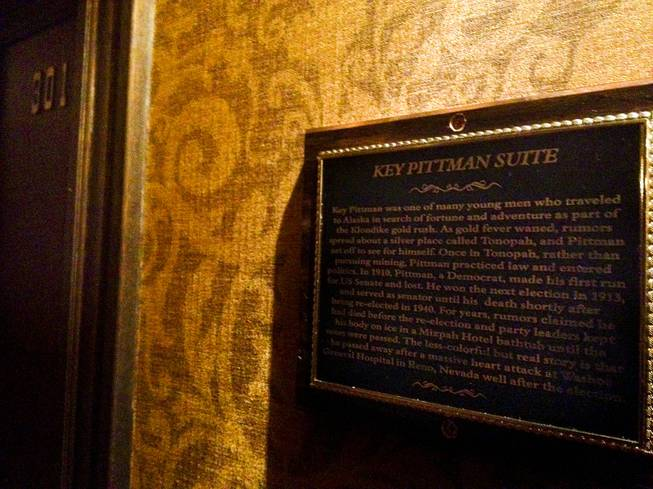 The Key Pittman Suite at the Mizpah Hotel is not located on the top floor, which is where hotel staff say the senator's  ghost roams. Though evidence points to Pittman dying in Reno, the story throughout the years has been that the senator haunts the Mizpah because he died there in 1940.