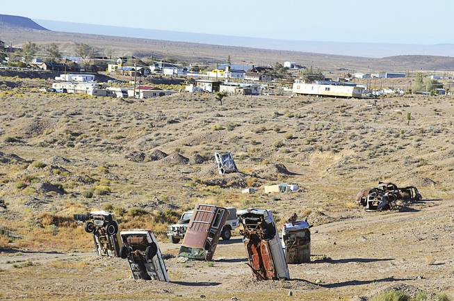 The International Car Forest of the Last Church is an artist's creation in Goldfield, seen here on Sept. 20, 2013.