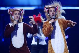 Norwegian duo Ylvis performs