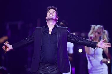 Robin Thicke performs during the iHeartRadio Music Festival at the MGM Grand Garden Arena Friday, Sept. 20, 2013.