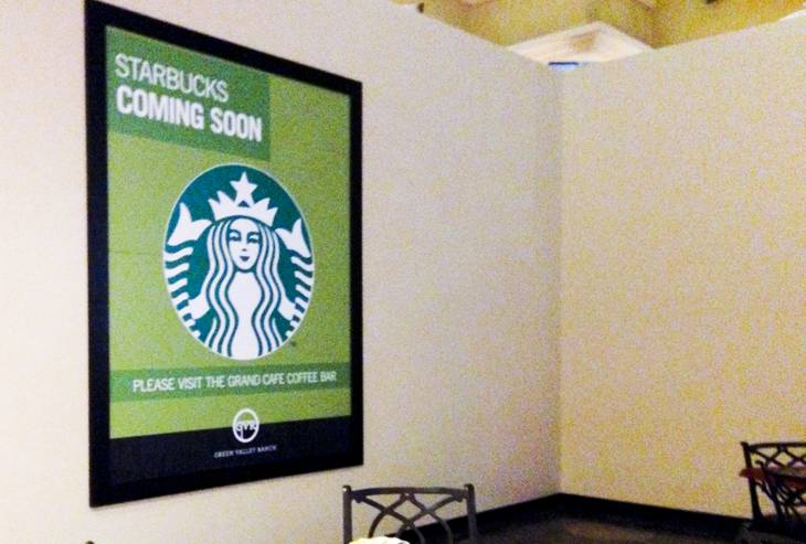 A construction wall stands announcing the future site of a Starbucks at Green Valley Ranch Casino, Friday, Sept. 20, 2013.