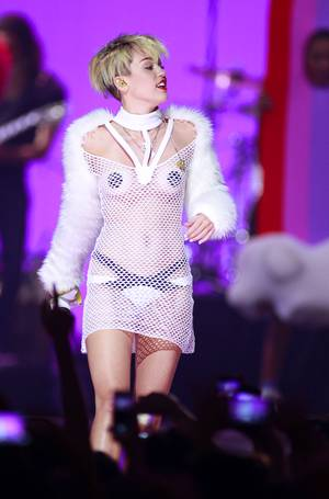 Miley Cyrus performs during the iHeartRadio Music Festival in the MGM Grand Garden Arena Saturday, Sept. 21, 2013.