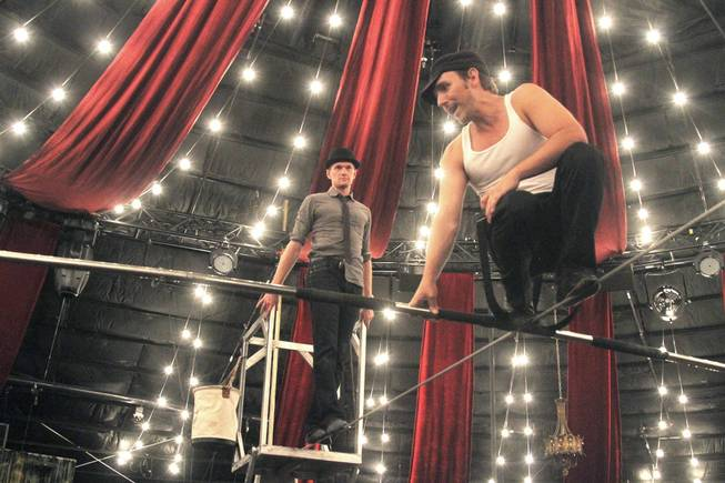 "Anthony ""Tony Tightropes"" Hernandez, right, works with Neil Patrick Harris during Harris' visit to ""Absinthe"" in July."