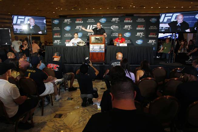 Dana White talks during a news conference to promote UFC 168 Tuesday, Sept. 24, 2013.