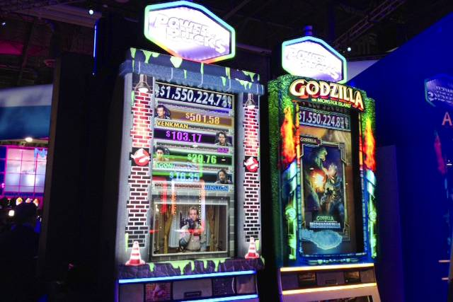 New Godzilla slot machine at the 2013 G2E convention.