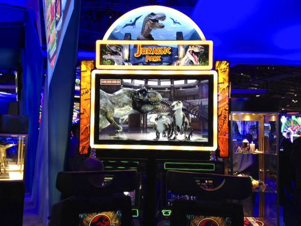 New Jurassic Park slot machine at the 2013 G2E convention.
