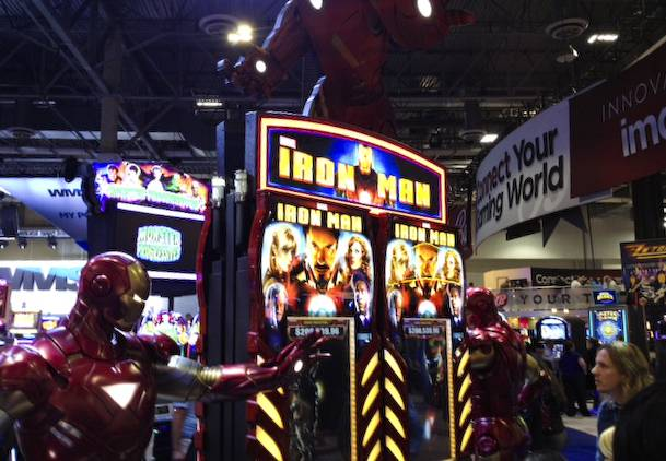 New Iron Man slot machine at the 2013 G2E convention.