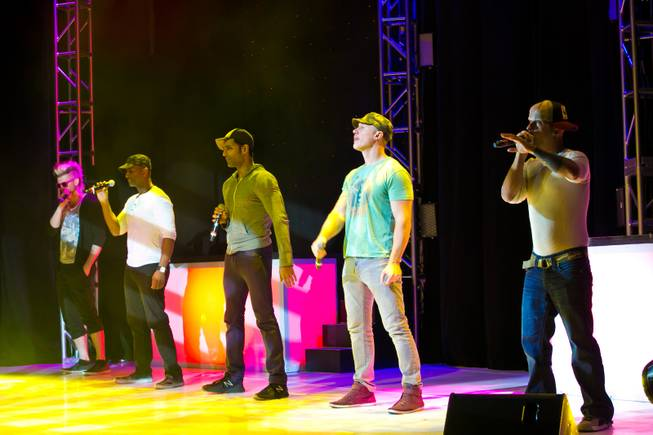 Vocal group Mo5aic rehearses at their new home inside Shimmer Cabaret at LVH on Thursday, Sept. 27, 2013.
