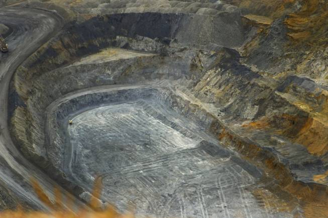 An open gold mine owned by Newmont Mining Corp., west of Elko, is shown on Sept. 26, 2013. This photo was taken right before a blast in the area.