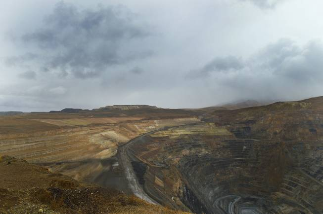 An open gold mine owned by Newmont Mining Corp., west of Elko, is shown on Sept. 26, 2013.