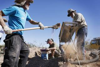 Tony Rhodes, from left, Maria Boyle and Russ Gladen dig and classify dirt during a Gold Searchers of Southern Nevada outing at a claim near Meadview, Ariz. on Saturday, September 28, 2013.