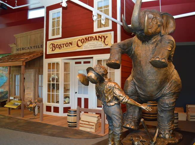 A statute of an emigrant confronting an elephant welcomes visitors at the California Trail Interpretive Center, west of Elko.