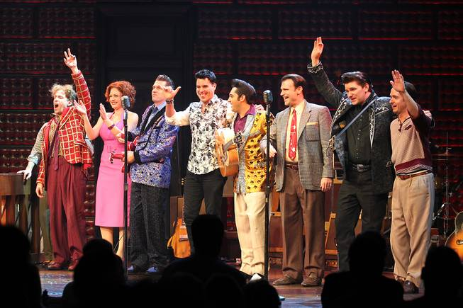 The cast of Million Dollar Quartet and guest Frankie Moreno thank the audience after their show at Harrah's Tuesday, Oct. 1, 2013.