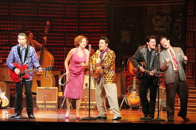 From left, Robert Britton Lyons, Felice Garcia, Cole, Benjamin Hale and Marc Donovan perform during the Million Dollar Quartet show at Harrah's Tuesday, Oct. 1, 2013.