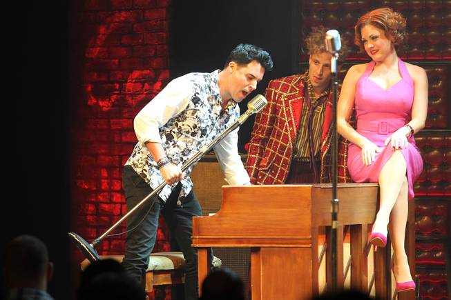 Frankie Moreno joins Martin Kaye and Felice Garcia during the Million Dollar Quartet show at Harrah's Tuesday, Oct. 1, 2013.