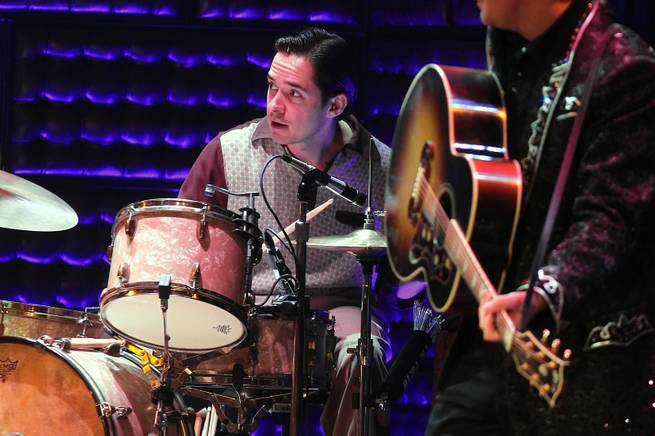 "Mark Ferratt performs as the drummer in ""Million Dollar Quartet"" on Tuesday, Oct. 1, 2013, at Harrah's."