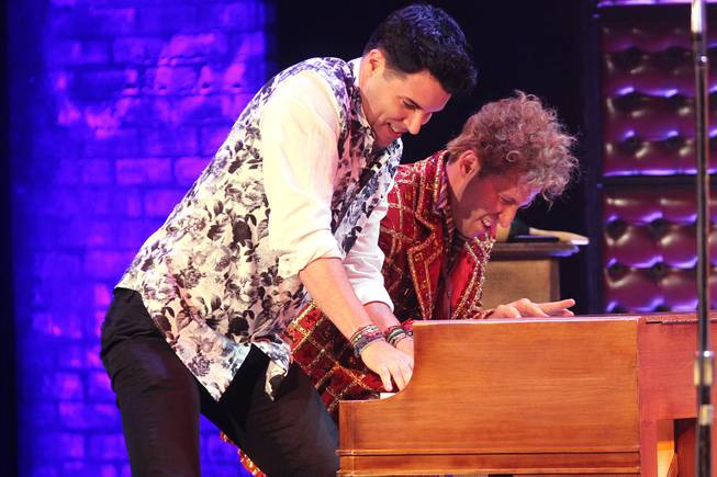 Frankie Moreno joins Martin Kaye during the Million Dollar Quartet show at Harrah's Tuesday, Oct. 1, 2013.