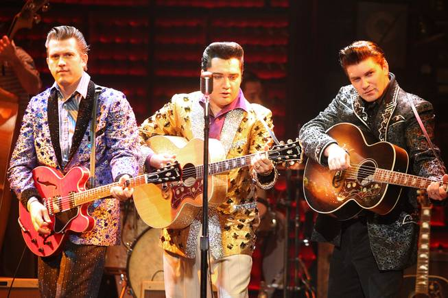 From left, Robert Britton Lyons, Cole and Benjamin D. Hale perform during the Million Dollar Quartet show at Harrah's Tuesday, Oct. 1, 2013.