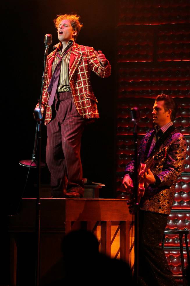 Martin Kaye performs as Jerry Lee Lewis during the Million Dollar Quartet show at Harrah's Tuesday, Oct. 1, 2013.