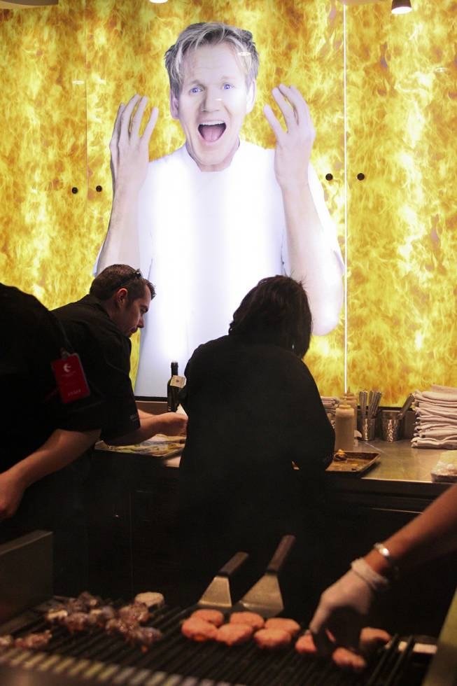 The table Gordon Ramsay BURGR table at the Epicurean Charitable Foundations M.E.N.U.S. (Mentoring & Educating Nevadas Upcoming Students) fundraising event at the Luxor Oasis Pool on Friday, Oct. 4, 2013.