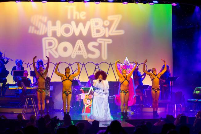 "Skye Dee Miles and the dancers from ""Divas"" perform during the Showbiz Roast of Frank Marino inside the theater at the Stratosphere, Friday Oct 4, 2013. Proceeds from the event go toward Make-a-Wish of Southern Nevada."