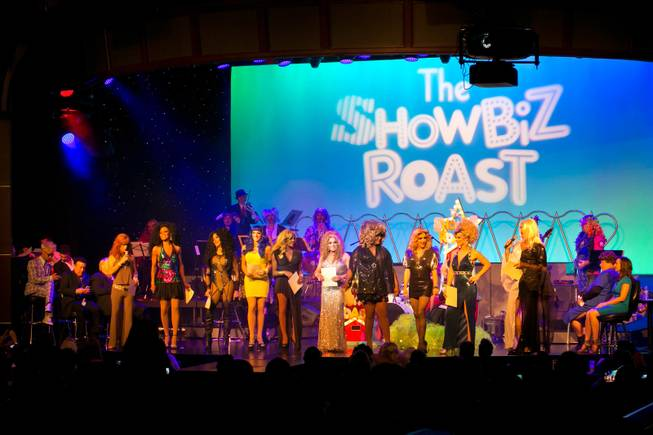 "The cast of ""Divas Las Vegas"" and Las Vegas Sun reporter John Katsilometes take the stage during the Showbiz Roast of Frank Marino inside the theater at the Stratosphere, Friday Oct 4, 2013. Proceeds from the event go toward Make-a-Wish of Southern Nevada."