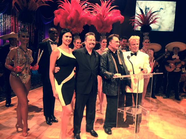 The 69th birthday celebration for Roy Horn on Thursday, Oct. 3, 2013, at the Mirage. Taylor Makakoa, Terry Fator, Horn and Siegfried Fischbacher are pictured here.