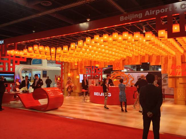 Beijing Capital International Airports booth at World Routes 2013 was adorned with a ceiling full of lanterns on Oct. 7, 2013.