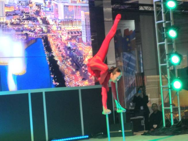 A contortionist from Bellagios O show performed at the Las Vegas booth at World Routes 2013 on Oct. 7, 2013.