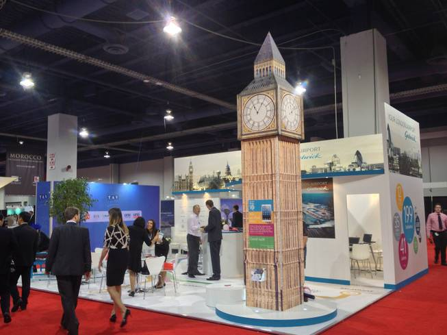 Londons airports offered a replica of Big Ben on the trade show floor of World Routes 2013 on Oct. 7, 2013.