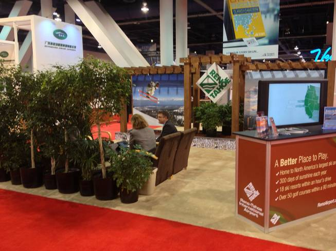 Reno-Tahoe International Airport brought a small forest to its trade show booth at World Routes 2013 on Oct. 7, 2013.