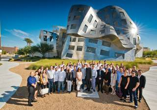 Chef Nobu Matsuhisa and his chefs receive a tour of the Cleveland Clinic Lou Ruvo Center for Brain Health led by Larry Ruvo on Tuesday, Oct. 8, 2013, in downtown Las Vegas.